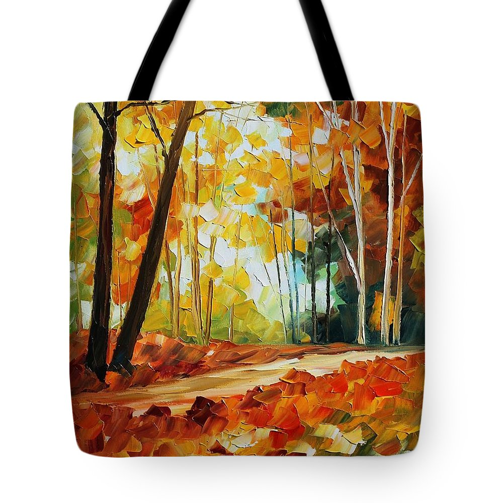 Afremov Tote Bag featuring the painting Fall New by Leonid Afremov