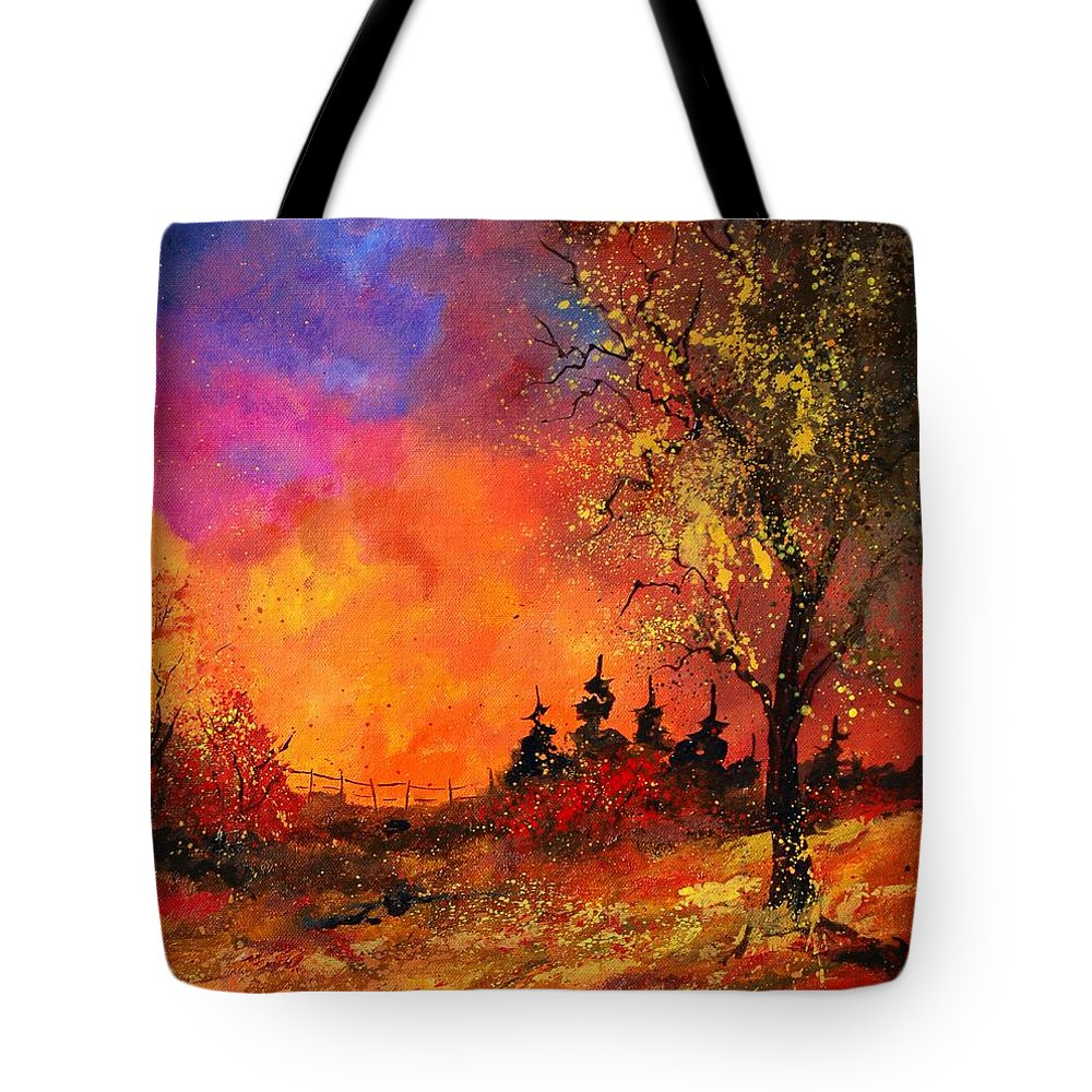 River Tote Bag featuring the painting Fall by Pol Ledent