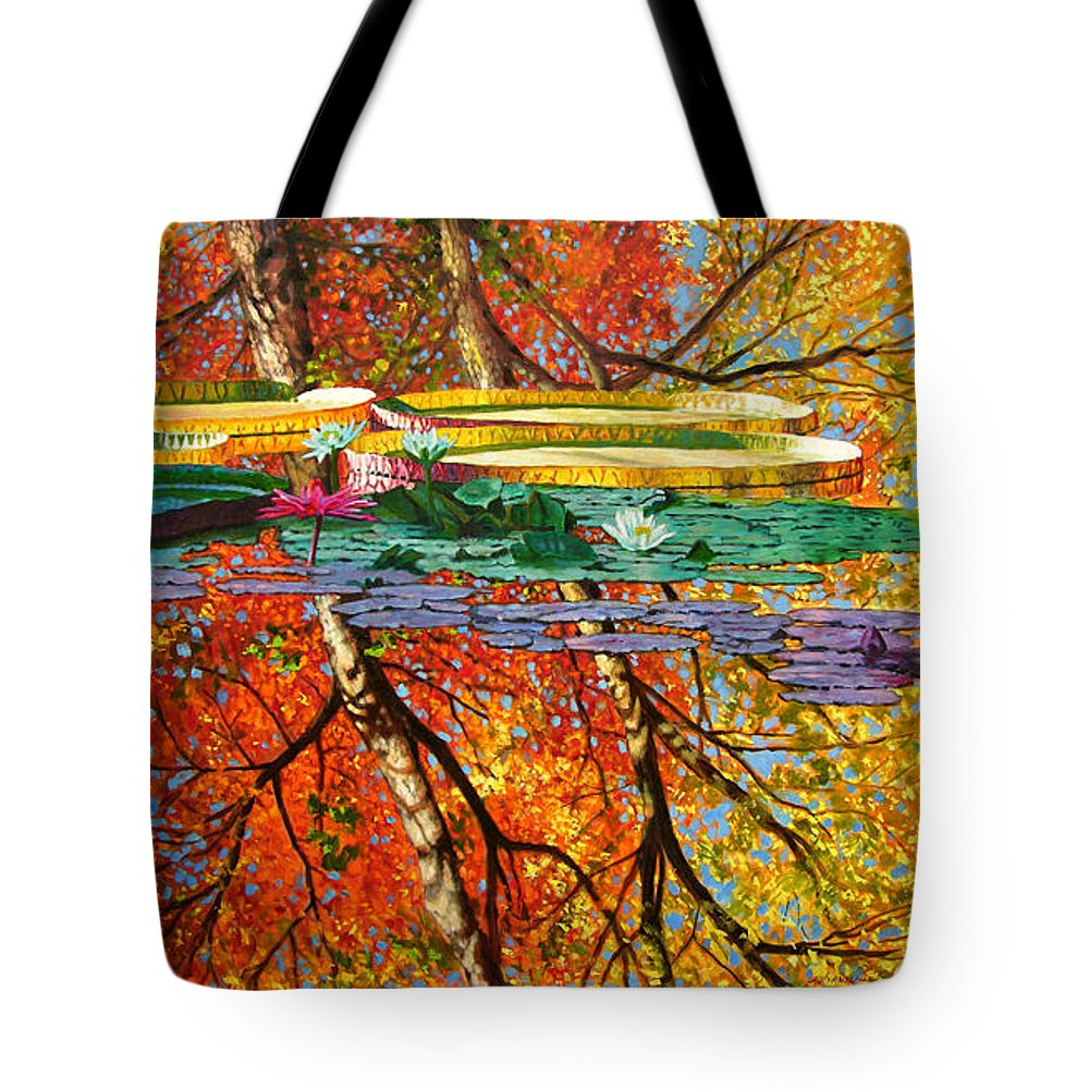 Garden Pond Tote Bag featuring the painting Fall Reflections 2 by John Lautermilch