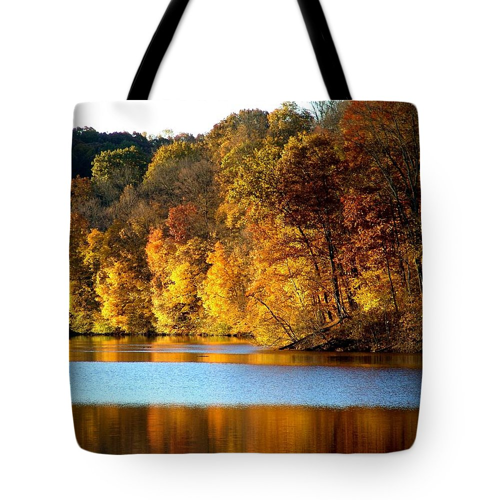 Trees Tote Bag featuring the photograph Fall Reflections Of Indiana by Carol Milisen