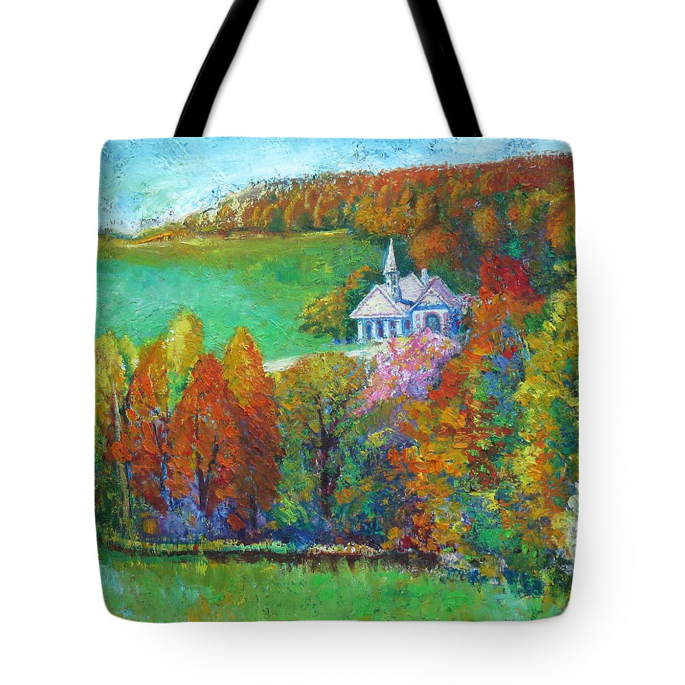 Fall Tote Bag featuring the painting Fall Scene by Meihua Lu