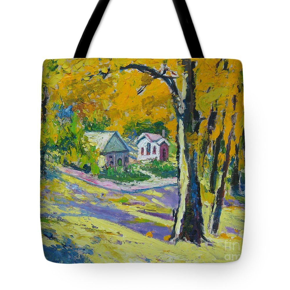 Trees Tote Bag featuring the painting Fall scenery by Meihua Lu