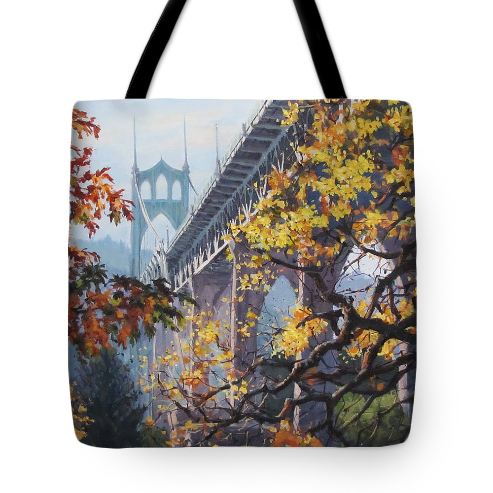 Portland Tote Bag featuring the painting Fall St Johns by Karen Ilari