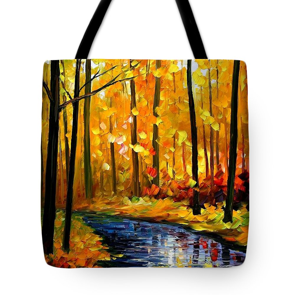 Afremov Tote Bag featuring the painting Fall Stream by Leonid Afremov