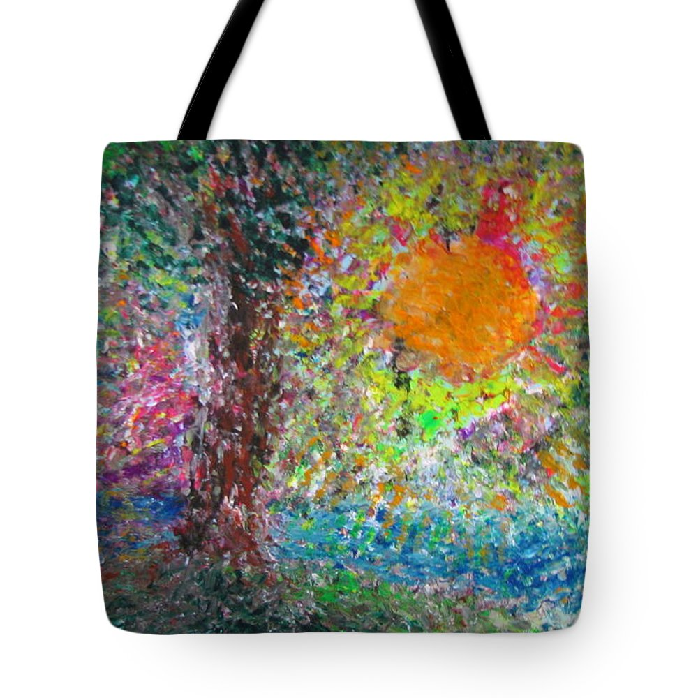 Playful Tote Bag featuring the painting Fall Sun by Jacqueline Athmann