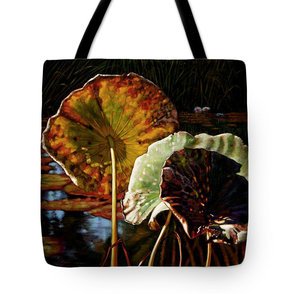 Fall Leaves Tote Bag featuring the painting Fall Trinity by John Lautermilch