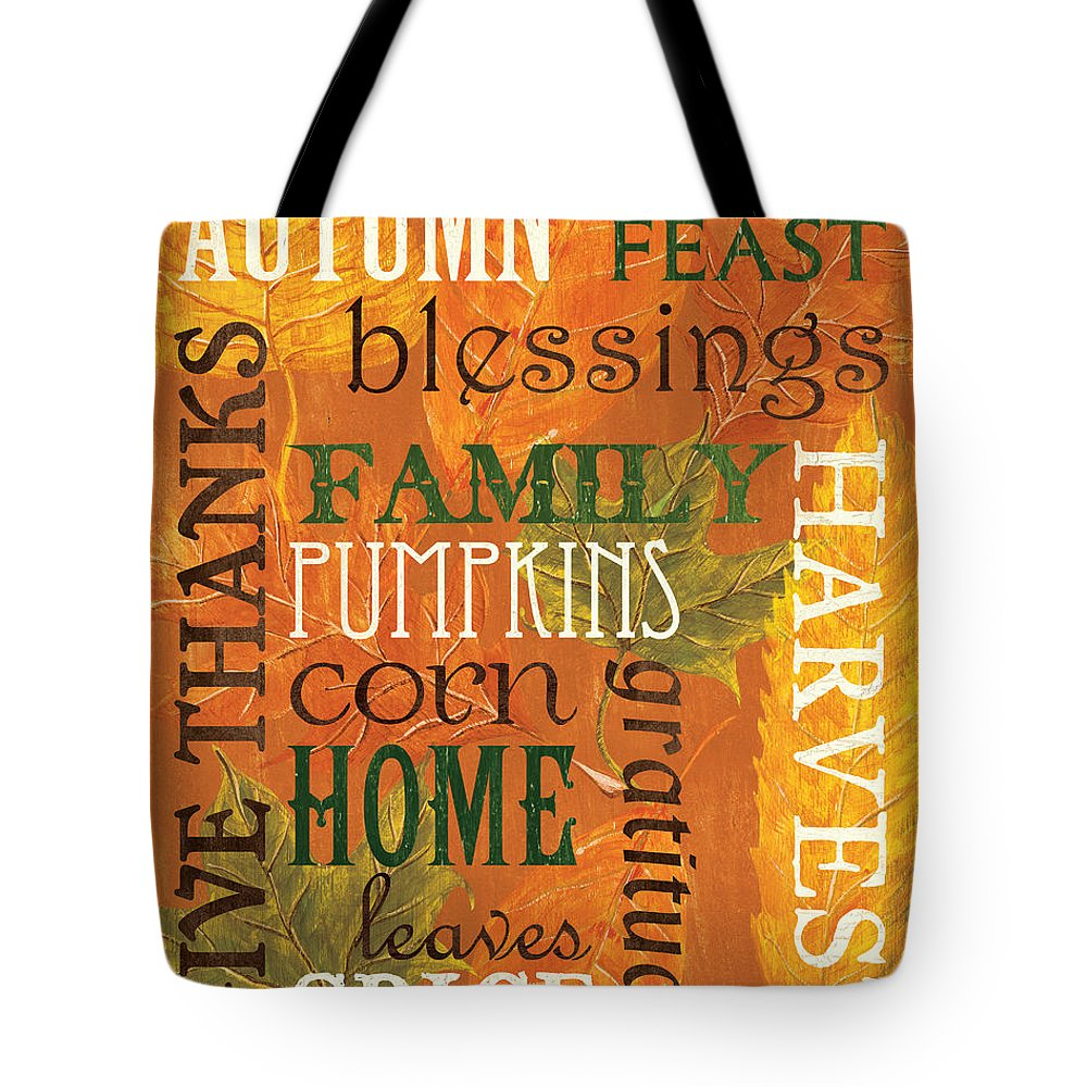 Fall Tote Bag featuring the painting Fall Typography 1 by Debbie DeWitt
