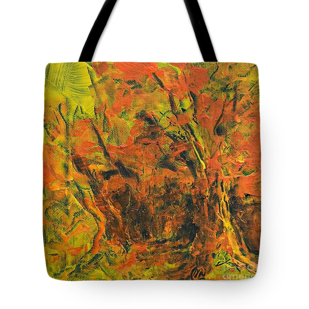 Forest Tote Bag featuring the painting Fall View by Jacqueline Milner