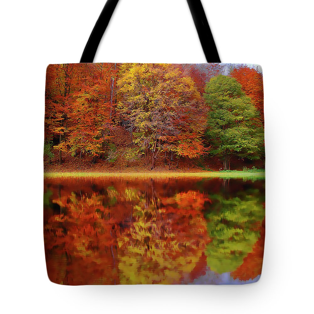 Fall Waters Tote Bag featuring the painting Fall Waters by Harry Warrick