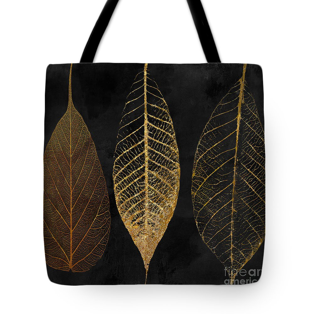 Leaf Tote Bag featuring the painting Fallen Gold II Autumn Leaves by Mindy Sommers