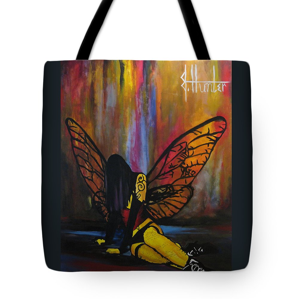 Fairy Tote Bag featuring the painting Fallen by Jeff Hunter