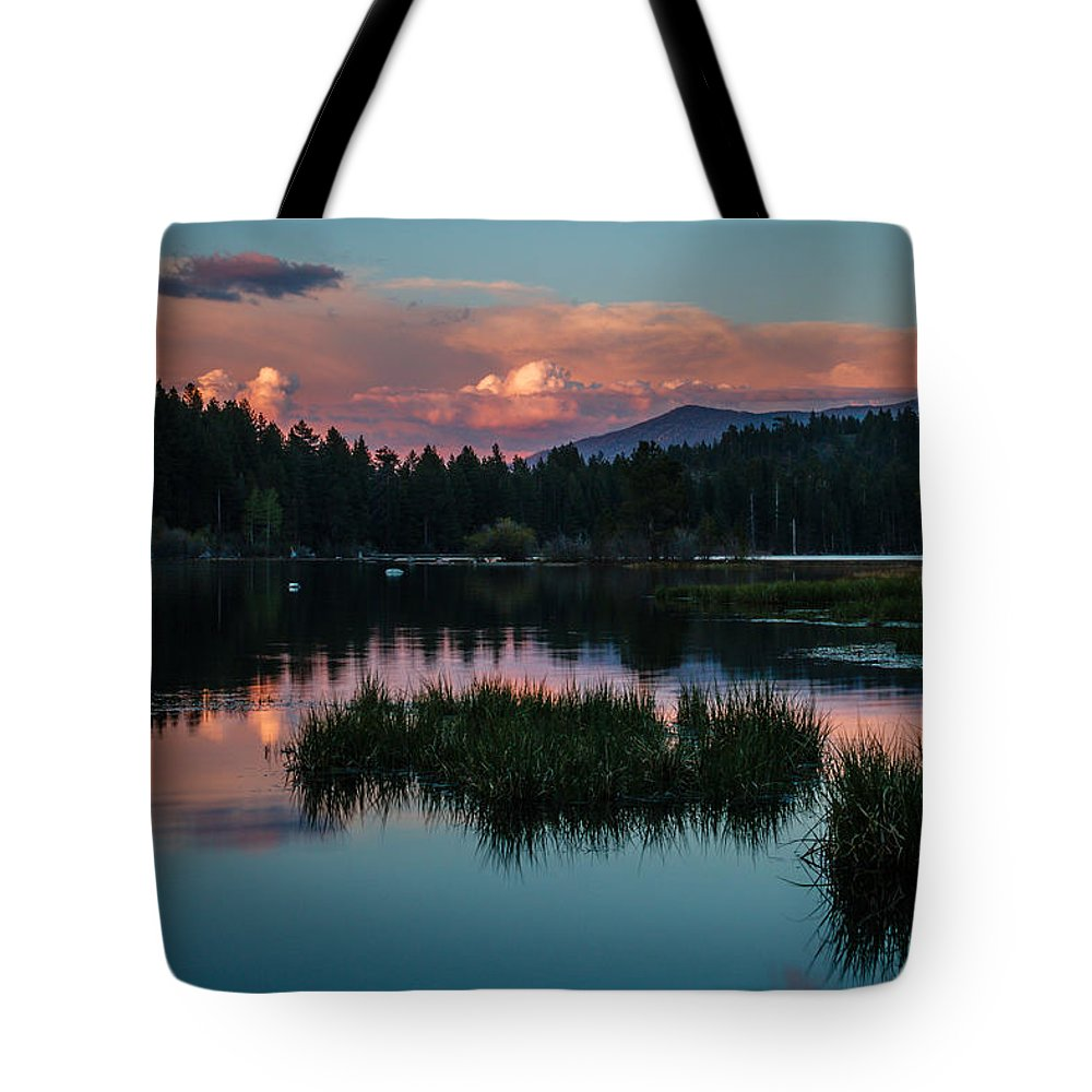 Sunset Tote Bag featuring the photograph Fallen Leaf Sunset Serenity by Mike Herron