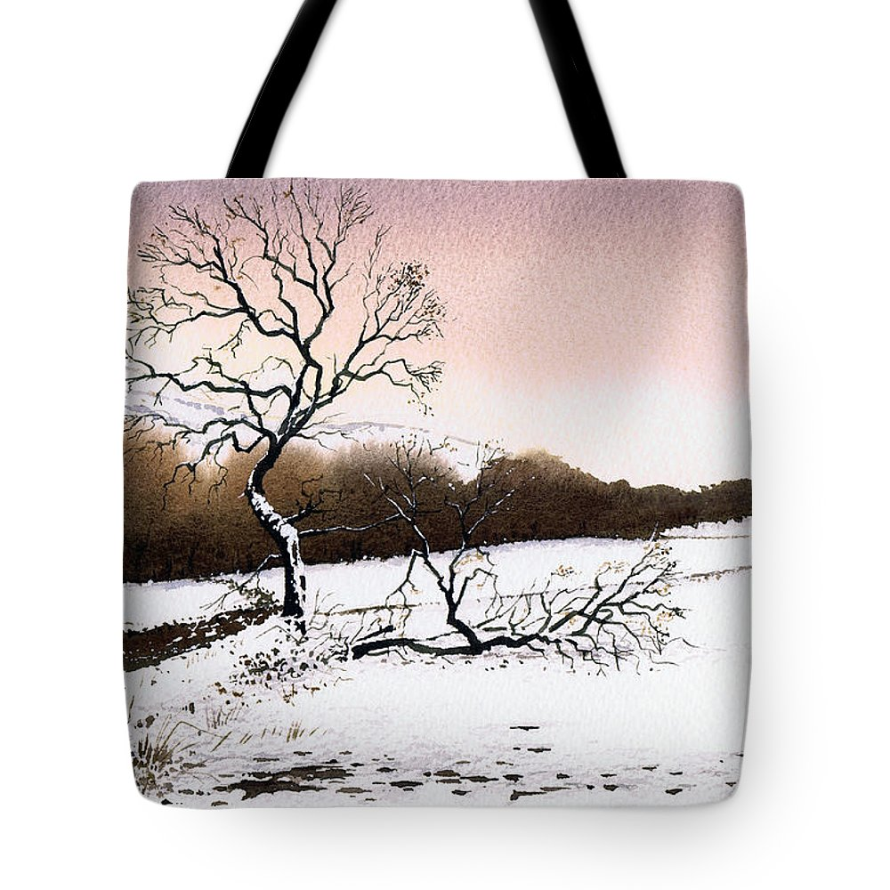 Winter Tote Bag featuring the painting Fallen Tree Stainland by Paul Dene Marlor