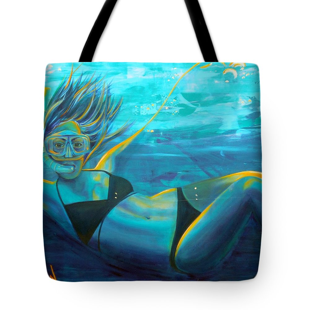 Art Tote Bag featuring the painting Falling by Angie Wright