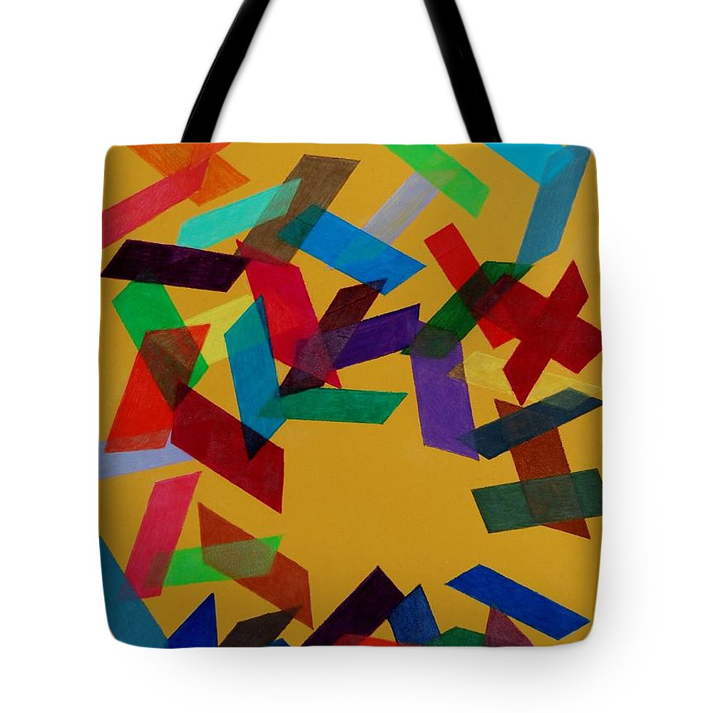 Abstract Tote Bag featuring the mixed media Falling by Charla Van Vlack