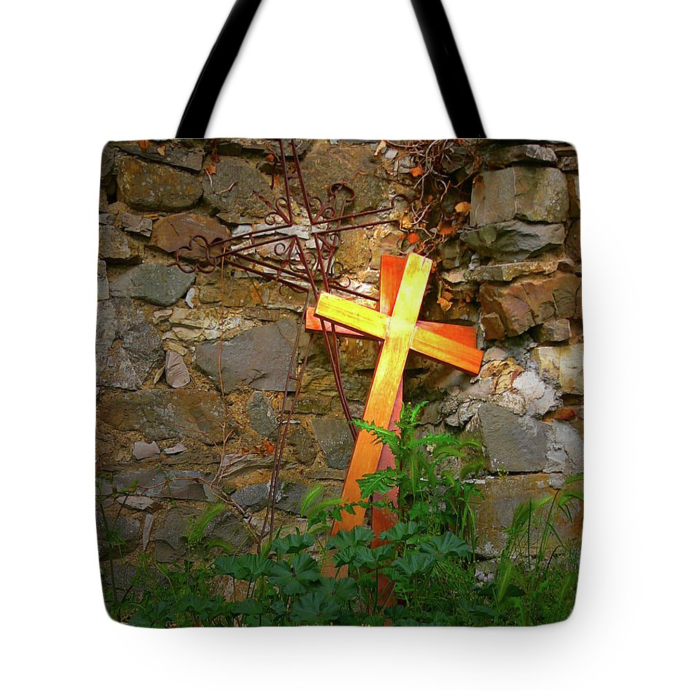 Tote Bag featuring the photograph Falling Crosses by Angela Wright