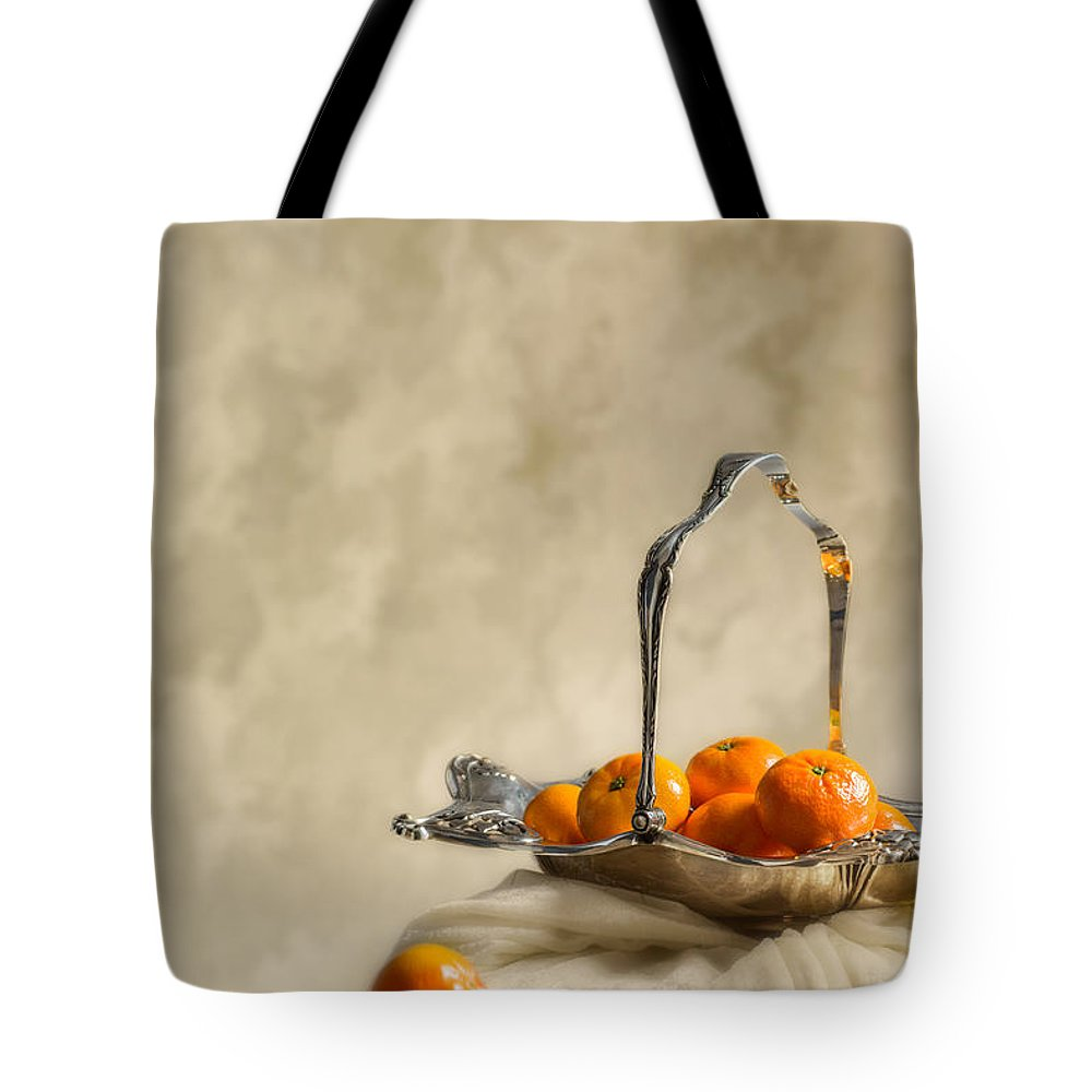 Antique Tote Bag featuring the photograph Falling Oranges by Amanda Elwell