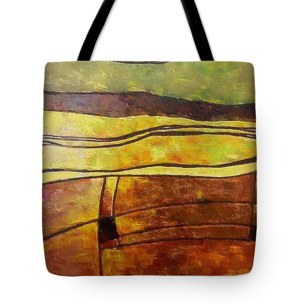 Landscape Autumn Tote Bag featuring the painting Fallow Ground by Dragica Micki Fortuna