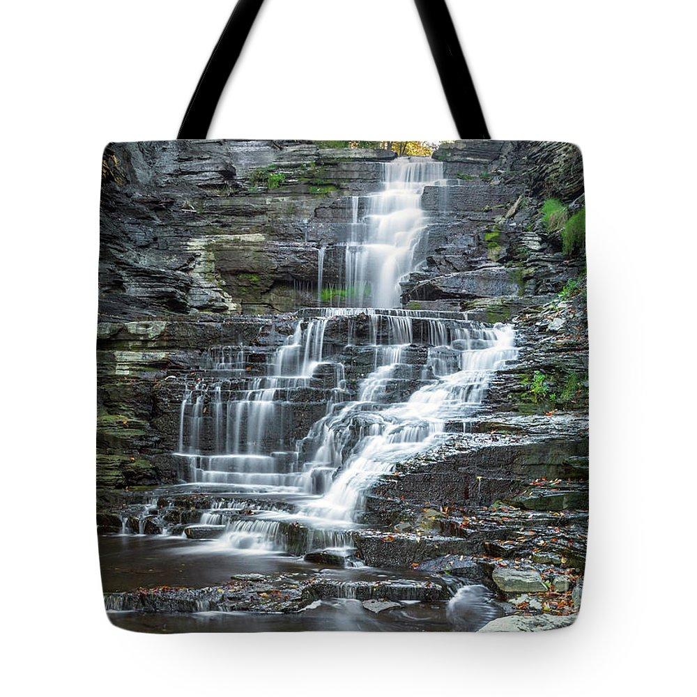 New York Tote Bag featuring the photograph Falls Creek Gorge Trail Ithaca New York by Karen Jorstad