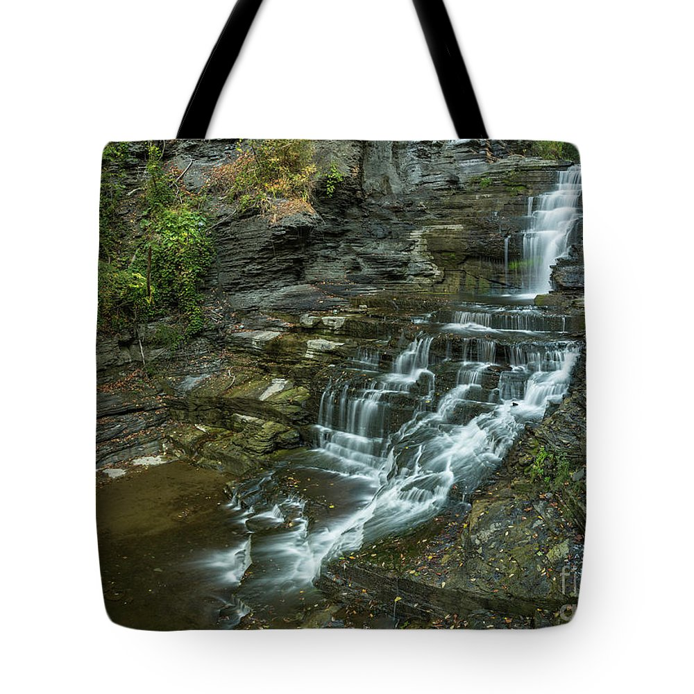 New York Tote Bag featuring the photograph Falls Creek Gorge Trail by Karen Jorstad