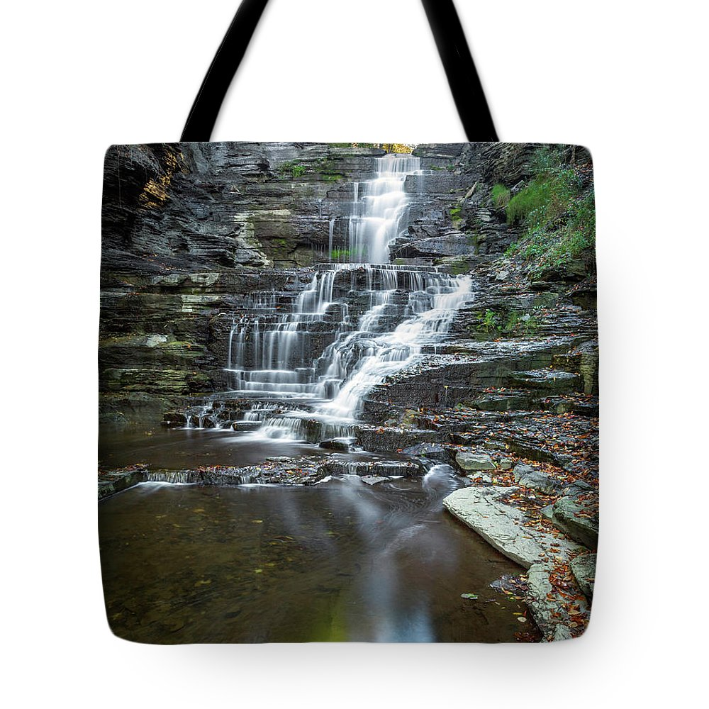 New York Tote Bag featuring the photograph Falls Creek Gorge Trail Reflection by Karen Jorstad