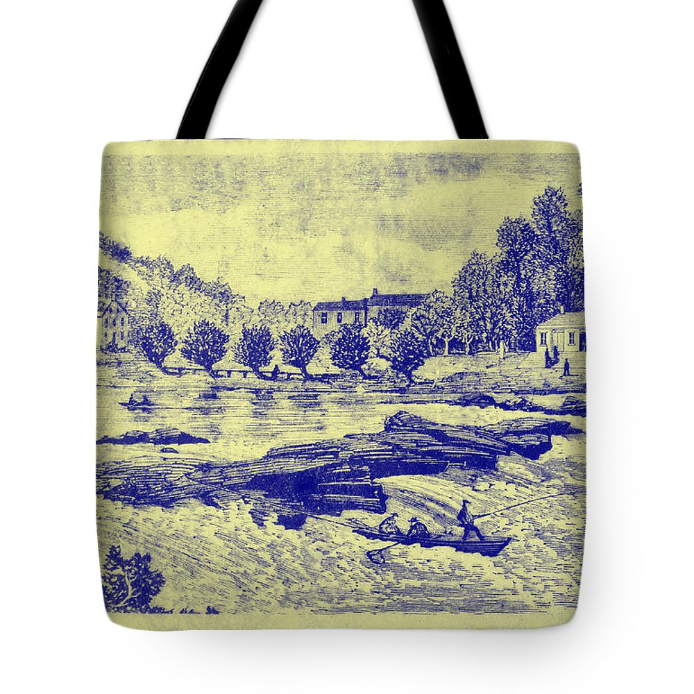 Falls Tote Bag featuring the photograph Falls Of The Schuylkill And Fort St Davids 1794 by Bill Cannon