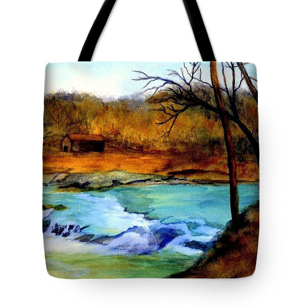 Waterfall Tote Bag featuring the painting Fallsburg Ky Falls by Gail Kirtz
