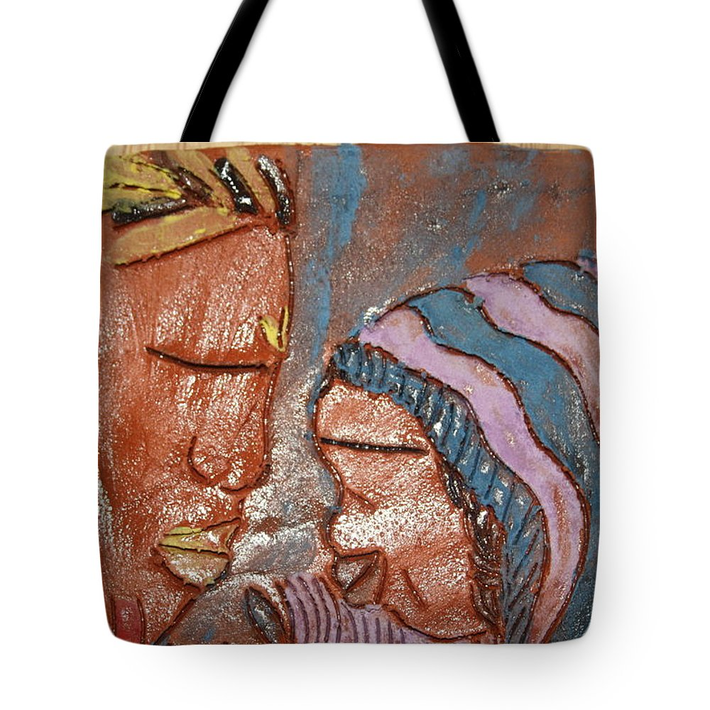 Jesus Tote Bag featuring the ceramic art Family 11 - Tile by Gloria Ssali