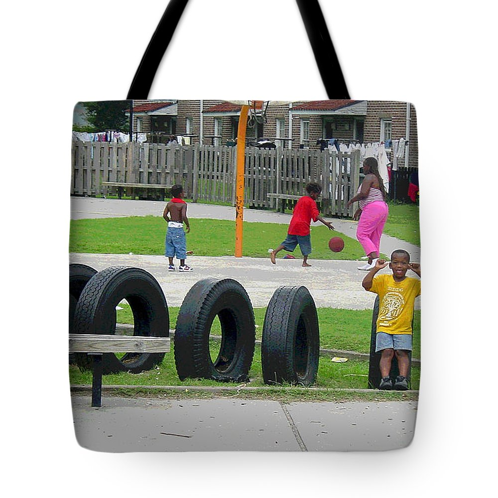 African American Tote Bag featuring the photograph Family At Play by Suzanne Gaff
