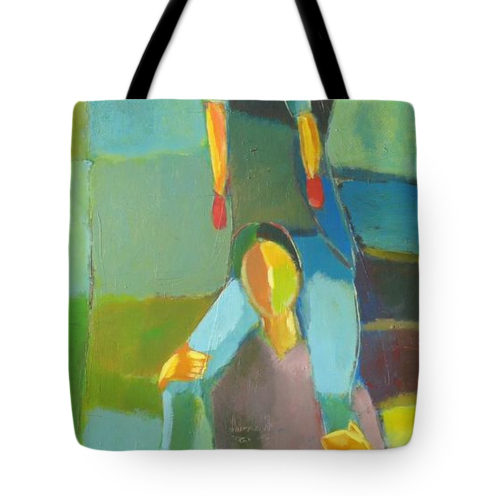 Abstract Tote Bag featuring the painting Family Joy by Habib Ayat