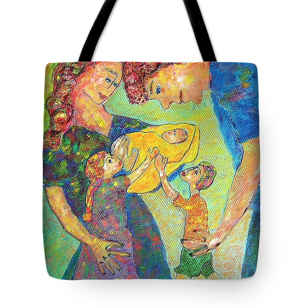 Family Enjoying Each Other Tote Bag featuring the painting Family Matters by Naomi Gerrard