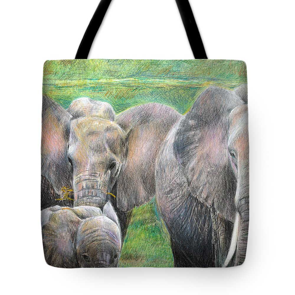 Elephant Tote Bag featuring the drawing Family Outing by Arline Wagner