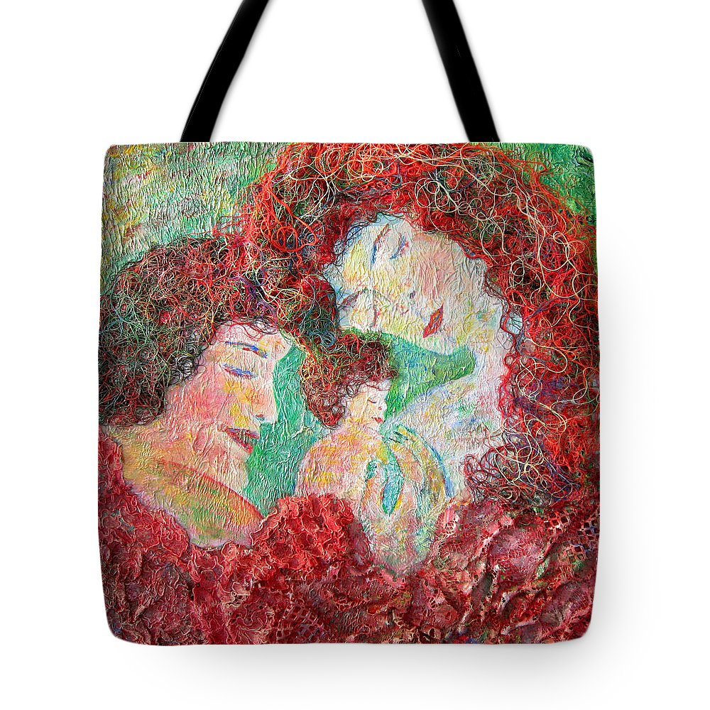 Mother Tote Bag featuring the painting Family Safety by Naomi Gerrard