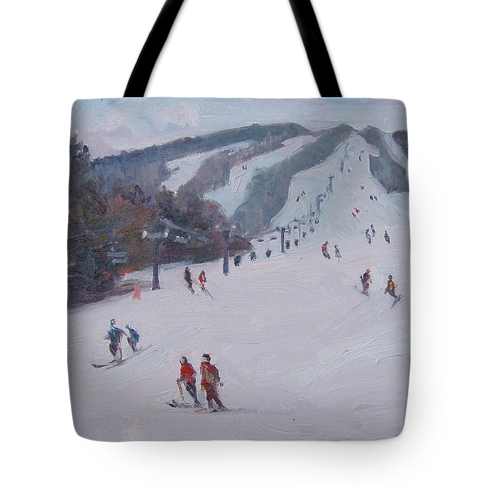 Landscape Tote Bag featuring the painting Family Ski by Dianne Panarelli Miller