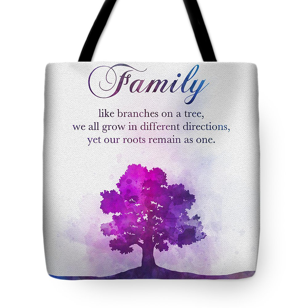 Tree Tote Bag featuring the mixed media Family Tree by My Inspiration