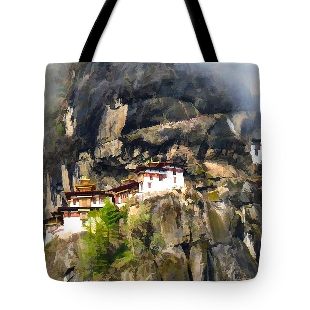 Architect Tote Bag featuring the painting Famous Tigers Nest Monastery Of Bhutan 3 by Jeelan Clark