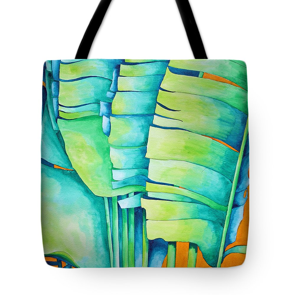 Fan Palm Tote Bag featuring the painting Fan Palm With Orange 2 by Helen Weston