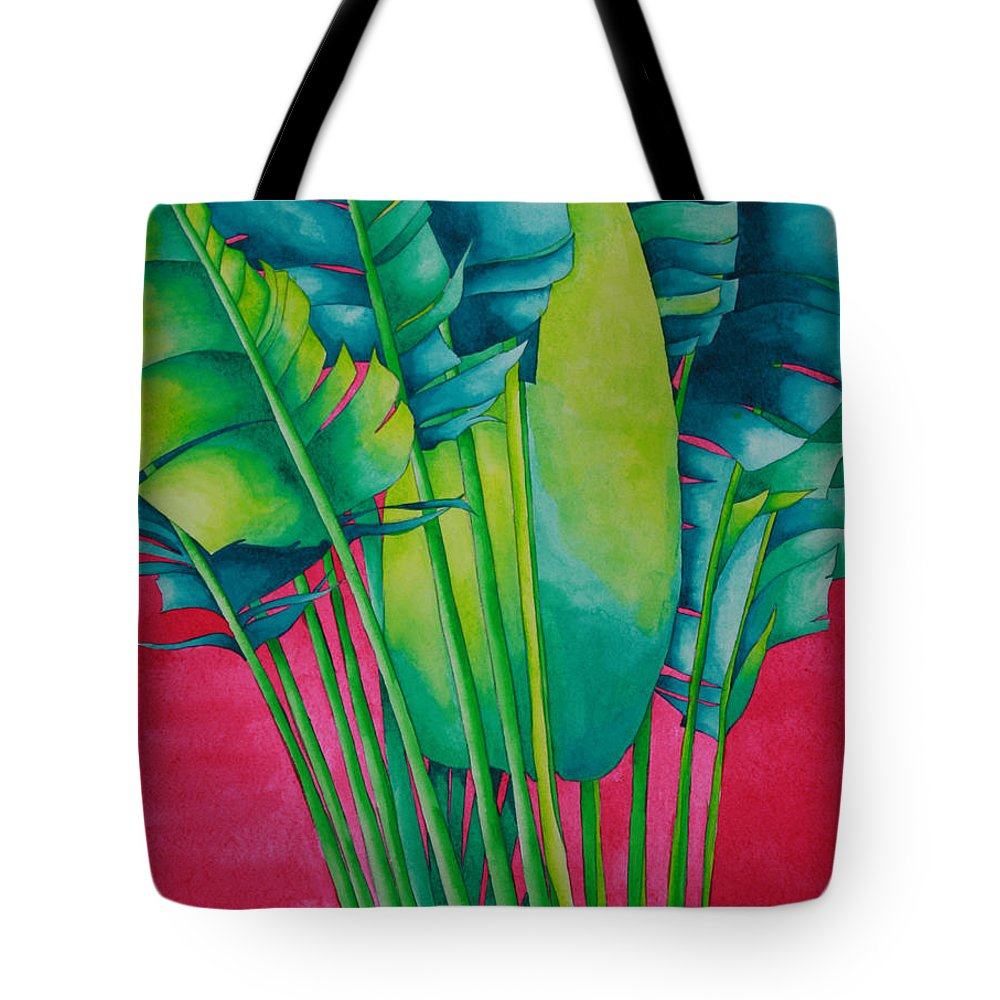 Fan Palm Tote Bag featuring the painting Fan Palm With Pink by Helen Weston