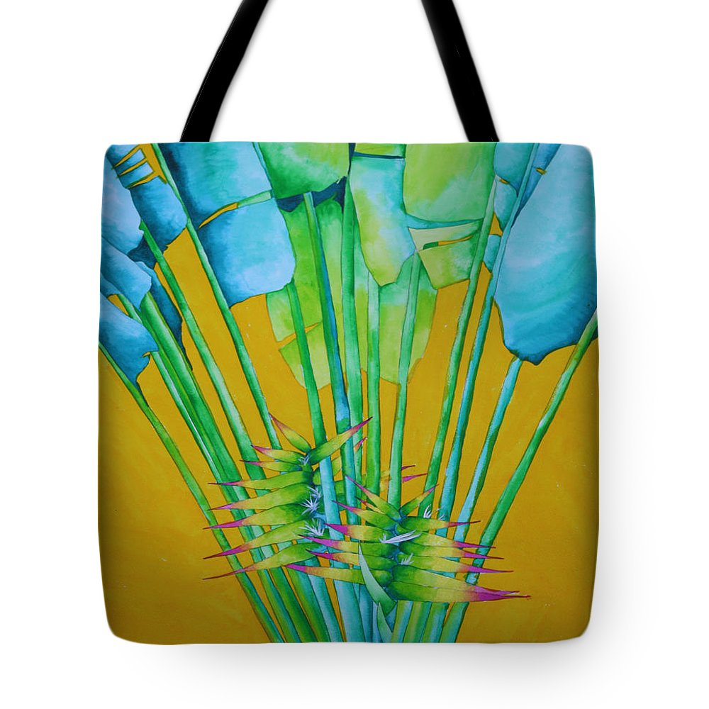 Fan Palm Tote Bag featuring the painting Fan Palm With Yellow by Helen Weston