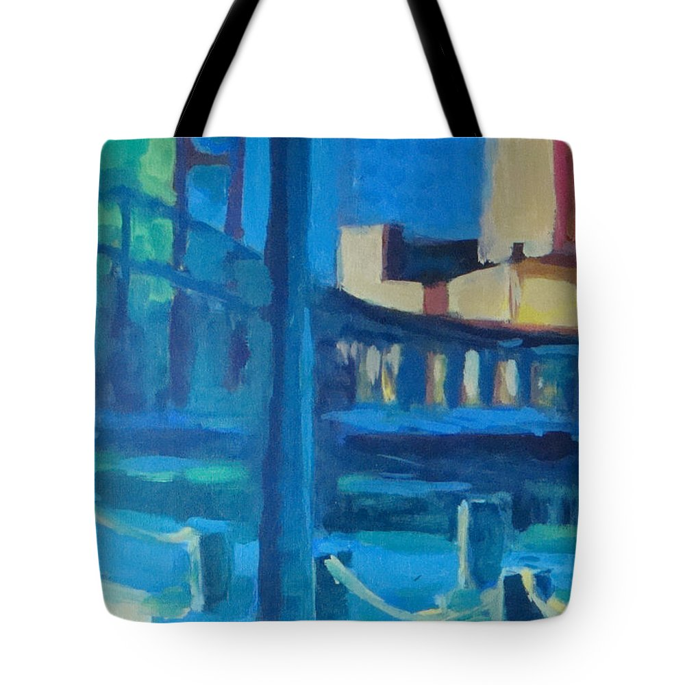 Boston Tote Bag featuring the painting Fan Pier, Boston by Amy Hamlet