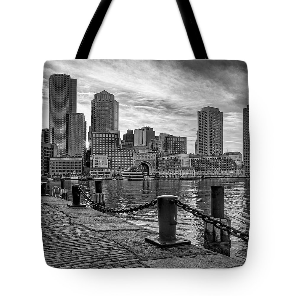 Boston Tote Bag featuring the photograph Fan Pier Boston Harbor Bw by Susan Candelario