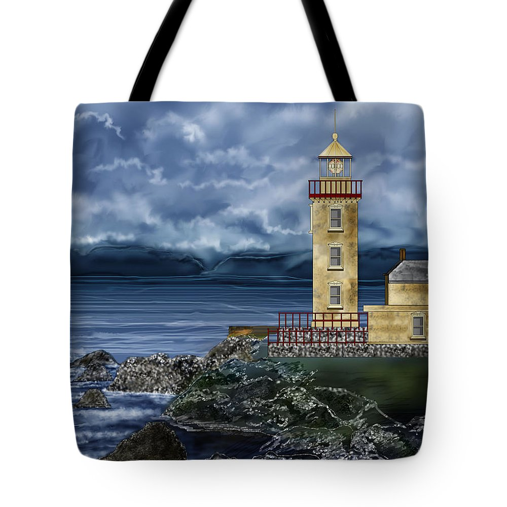 Lighthouse Tote Bag featuring the painting Fanad Head Lighthouse Ireland by Anne Norskog