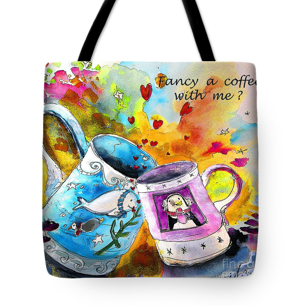 Cafe Crem Tote Bag featuring the painting Fancy A Coffee by Miki De Goodaboom