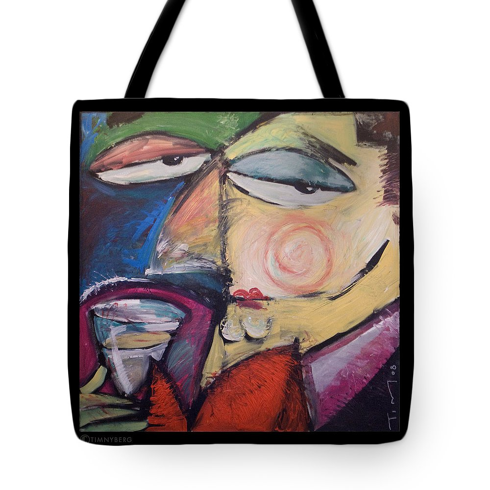 Humor Tote Bag featuring the painting Fancy Man At Art Opening by Tim Nyberg