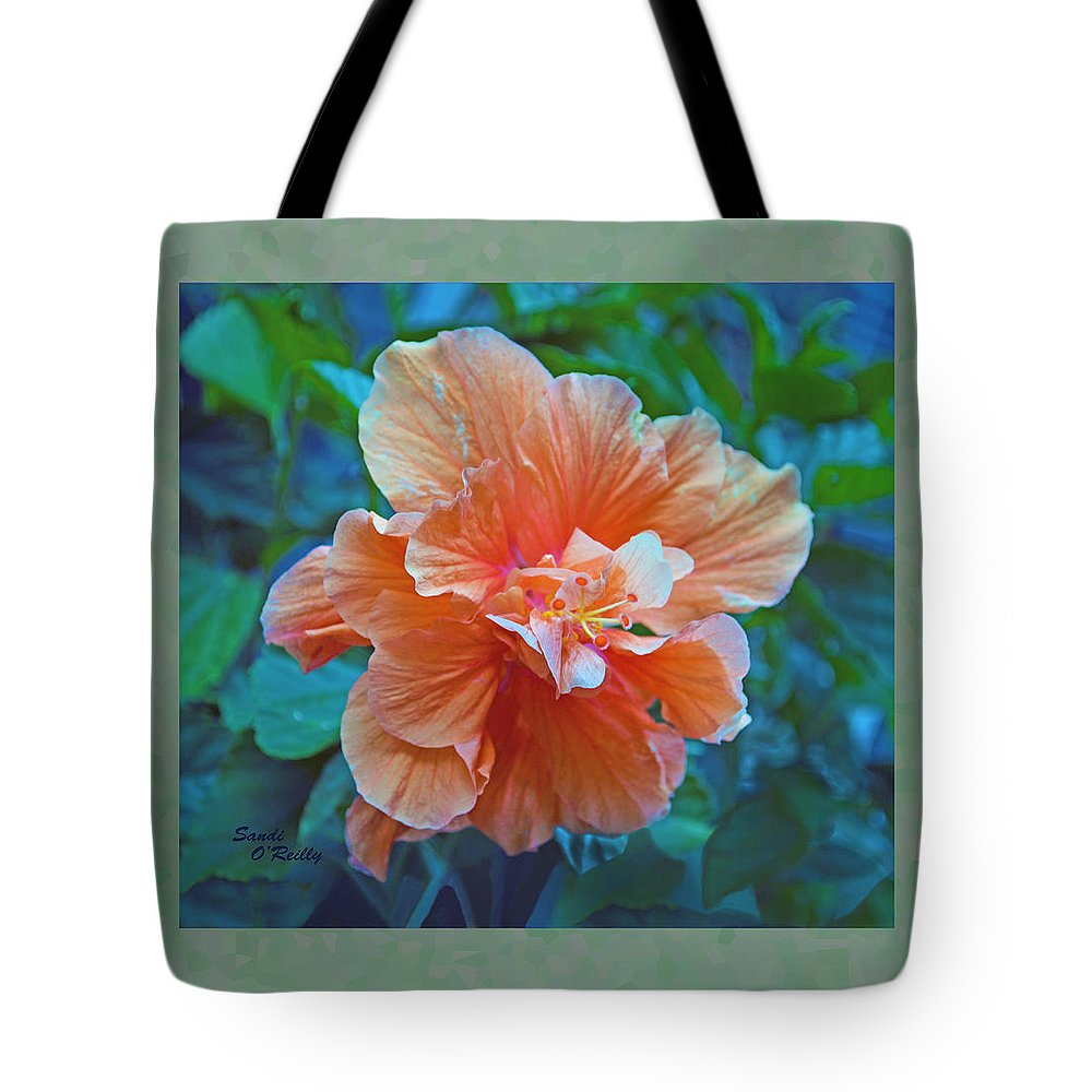 Hibiscus Tote Bag featuring the photograph Fancy Peach Hibiscus by Sandi OReilly