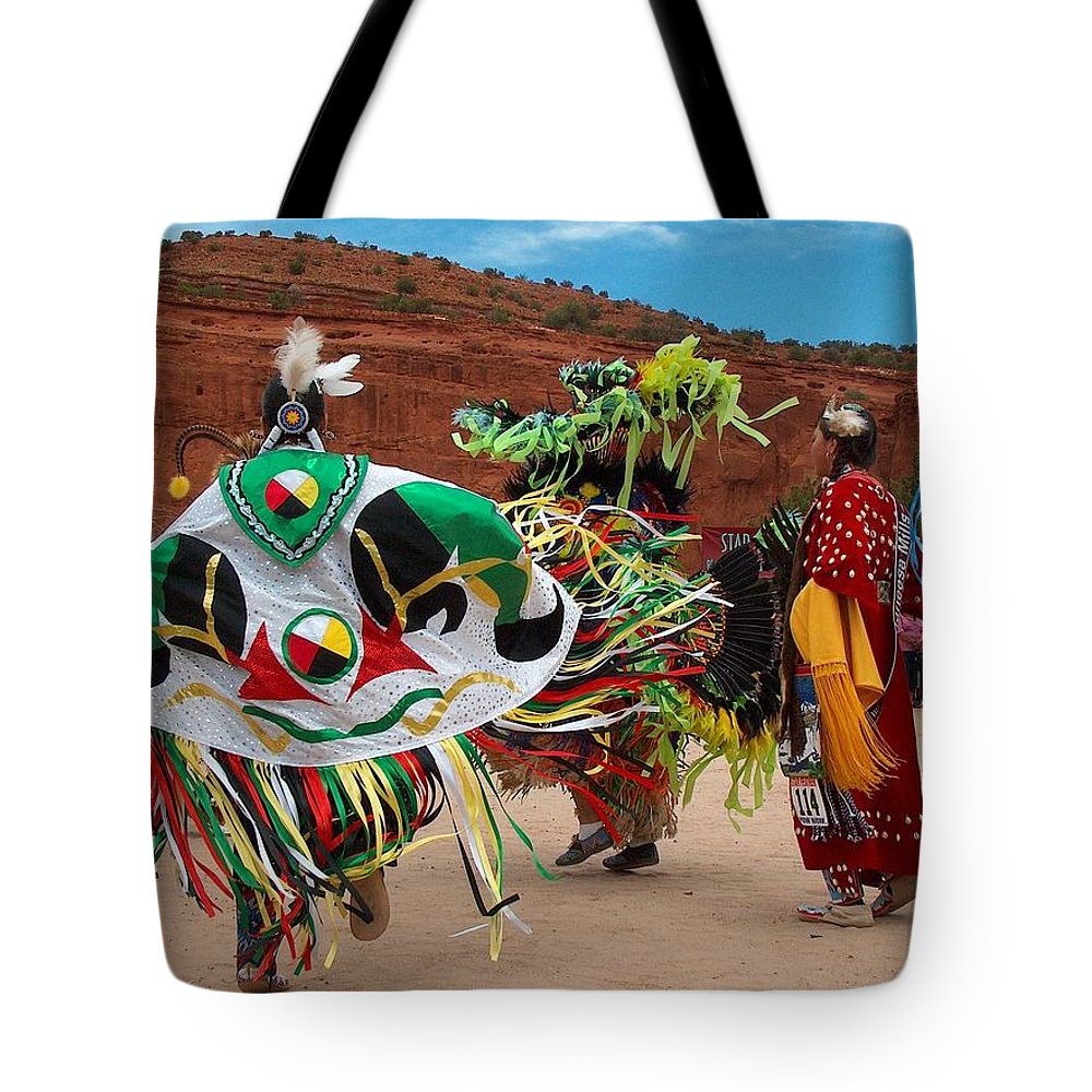 Fancy Shawl Dancer Tote Bag featuring the photograph Fancy Shawl Dancer At Star Feather Pow-wow by Tim McCarthy