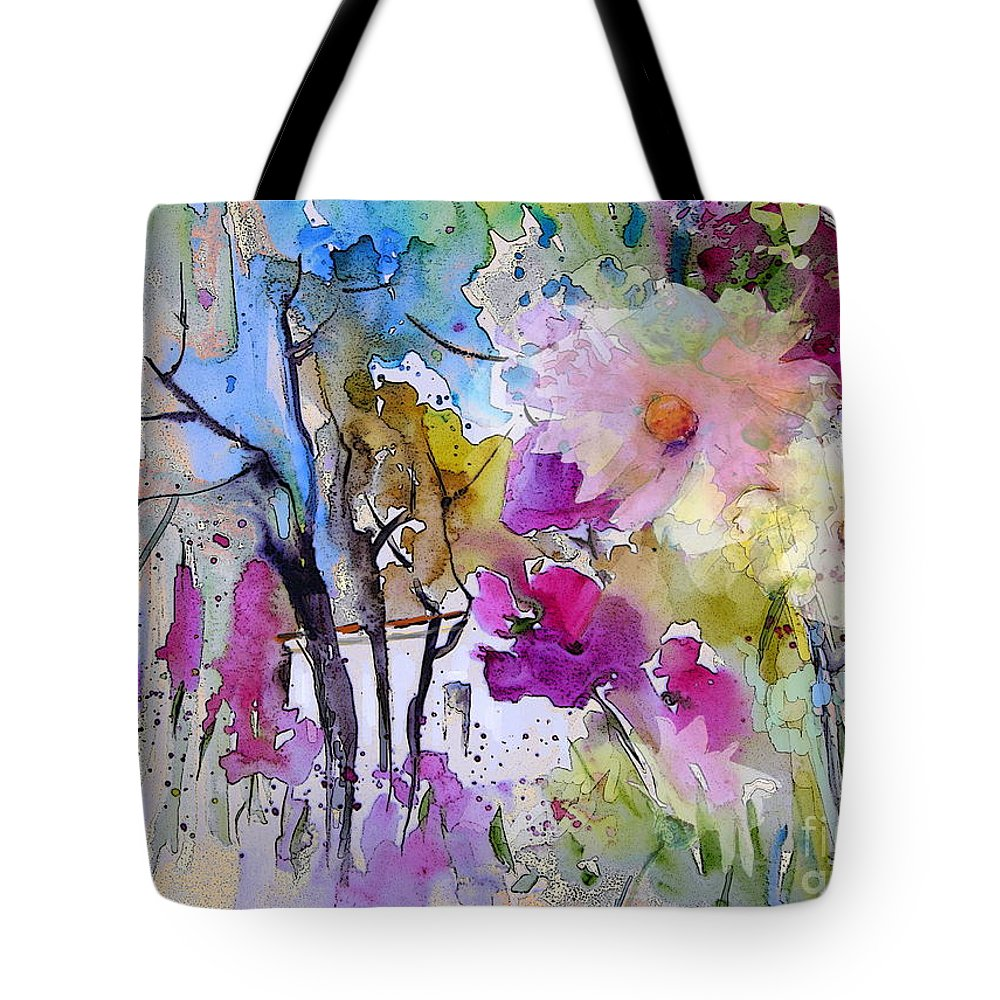 Flowers Tote Bag featuring the painting Fantaquarelle 02 by Miki De Goodaboom