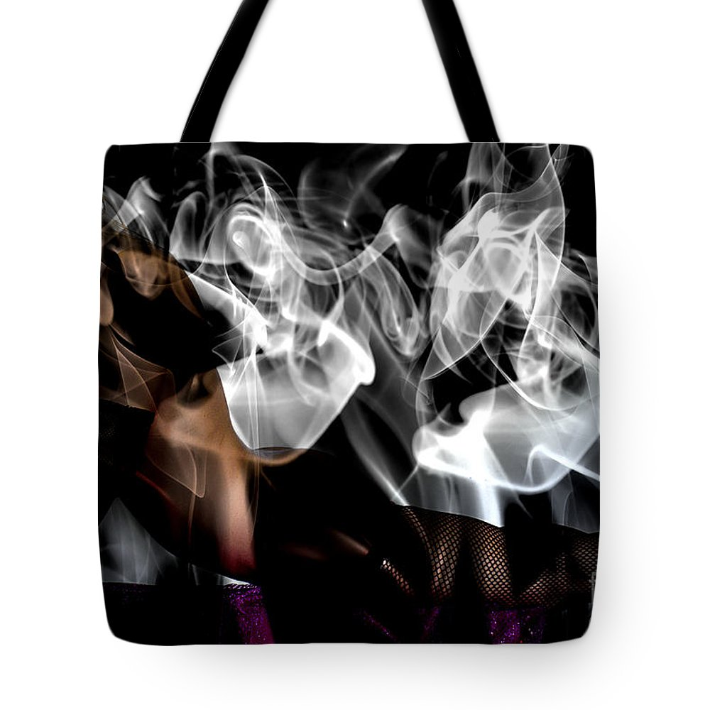 Clay Tote Bag featuring the photograph Fantasies In Smoke I by Clayton Bruster