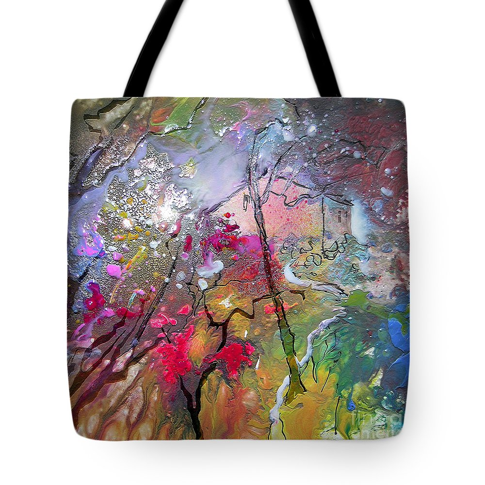Miki Tote Bag featuring the painting Fantaspray 19 1 by Miki De Goodaboom