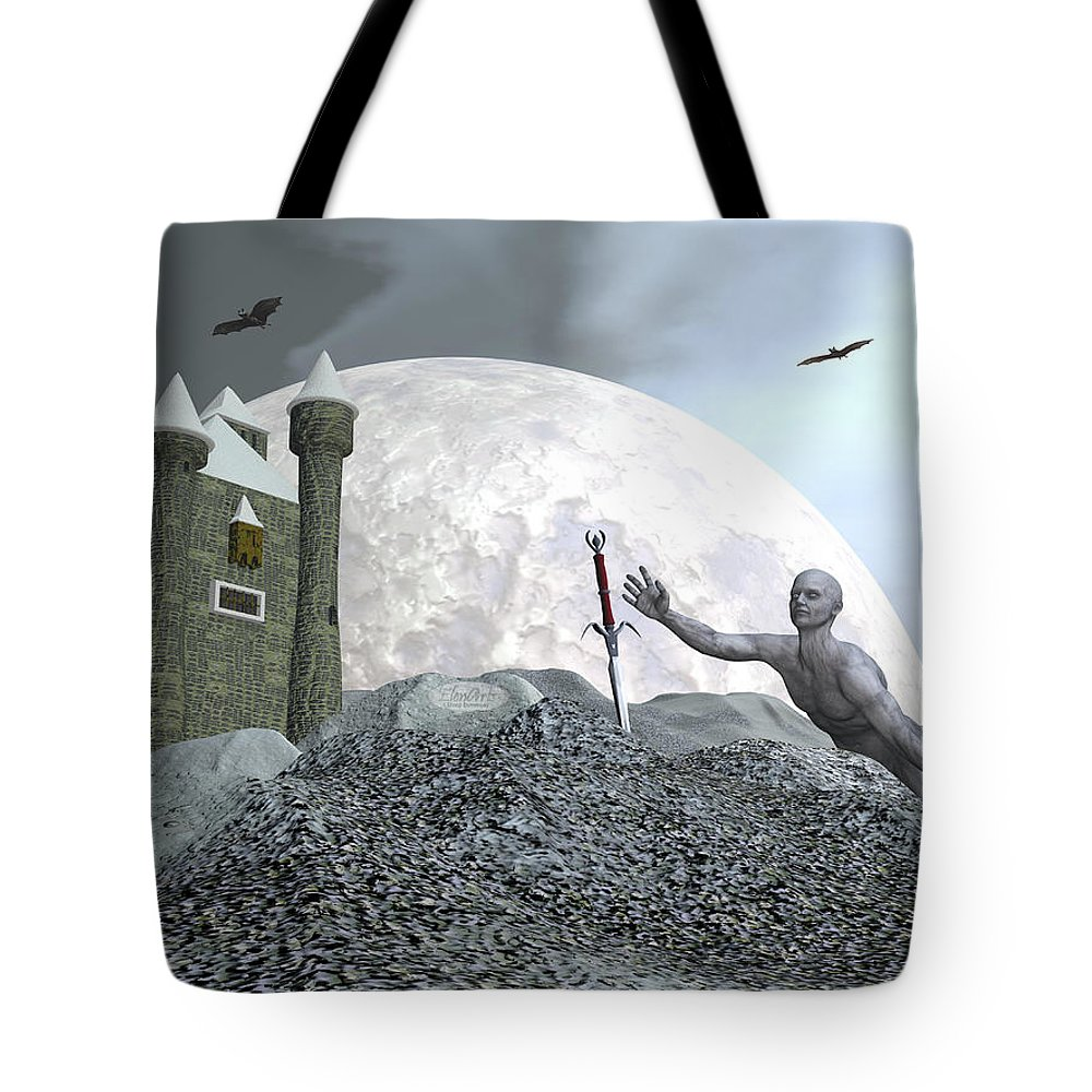 Castle Tote Bag featuring the digital art Fantasy Castle - 3d Render by Elenarts - Elena Duvernay Digital Art